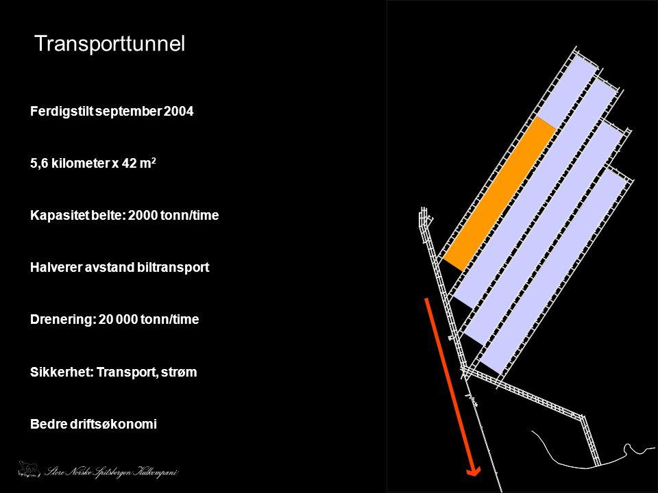 Transporttunnel Ferdigstilt september 2004 5,6 kilometer x 42 m 2 Kapasitet belte: 2000 tonn/time Halverer avstand biltransport Drenering: 20 000 tonn