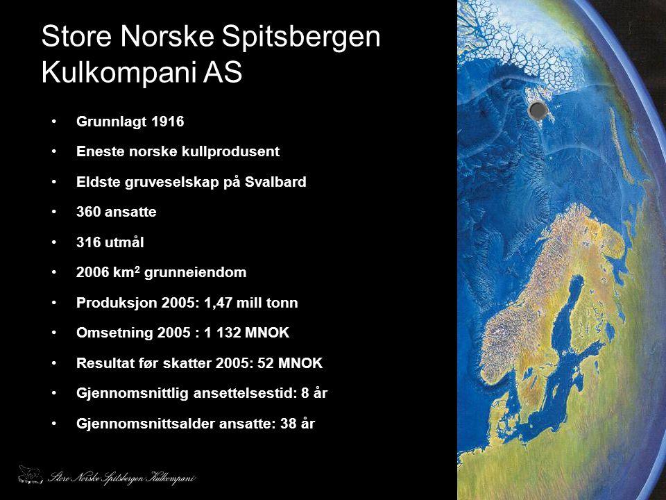 Store Norske Spitsbergen Kulkompani AS •Grunnlagt 1916 •Eneste norske kullprodusent •Eldste gruveselskap på Svalbard •360 ansatte •316 utmål •2006 km