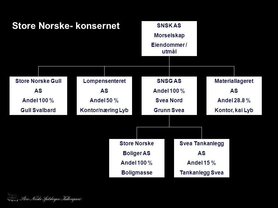 SNSK AS Morselskap Eiendommer / utmål SNSG AS Andel 100 % Svea Nord Grunn Svea Store Norske Gull AS Andel 100 % Gull Svalbard Materiallageret AS Andel