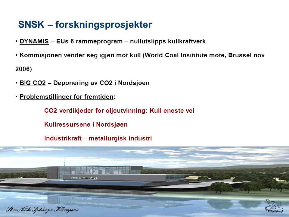 SNSK – forskningsprosjekter • DYNAMIS – EUs 6 rammeprogram – nullutslipps kullkraftverk • Kommisjonen vender seg igjen mot kull (World Coal Insititute