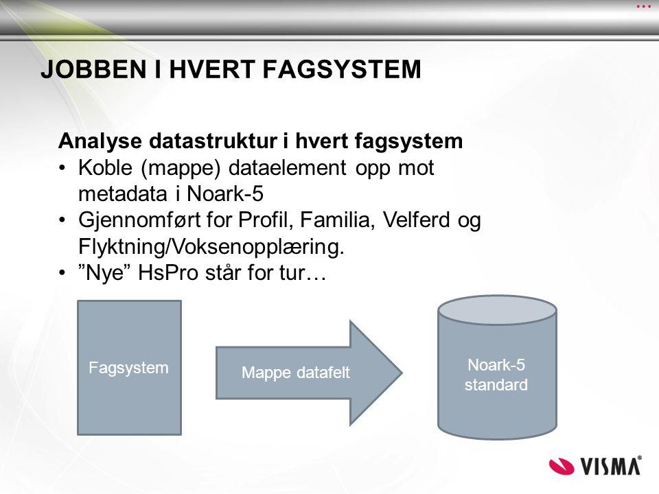 JOBBEN I HVERT FAGSYSTEM Fagsystem Mappe datafelt Noark-5 standard Analyse datastruktur i hvert fagsystem •Koble (mappe) dataelement opp mot metadata i Noark-5 •Gjennomført for Profil, Familia, Velferd og Flyktning/Voksenopplæring.