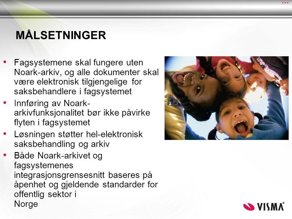MÅLSETNINGER • Fagsystemene skal fungere uten Noark-arkiv, og alle dokumenter skal være elektronisk tilgjengelige for saksbehandlere i fagsystemet • Innføring av Noark- arkivfunksjonalitet bør ikke påvirke flyten i fagsystemet • Løsningen støtter hel-elektronisk saksbehandling og arkiv • Både Noark-arkivet og fagsystemenes integrasjonsgrensesnitt baseres på åpenhet og gjeldende standarder for offentlig sektor i Norge