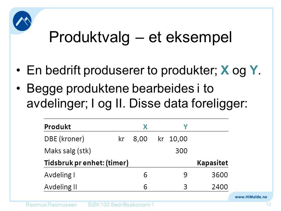 Produktvalg – et eksempel •En bedrift produserer to produkter; X og Y. •Begge produktene bearbeides i to avdelinger; I og II. Disse data foreligger: R