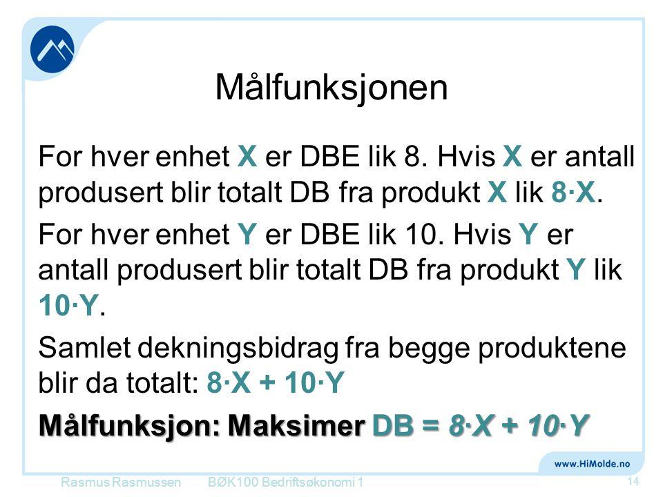 Målfunksjonen For hver enhet X er DBE lik 8. Hvis X er antall produsert blir totalt DB fra produkt X lik 8·X. For hver enhet Y er DBE lik 10. Hvis Y e
