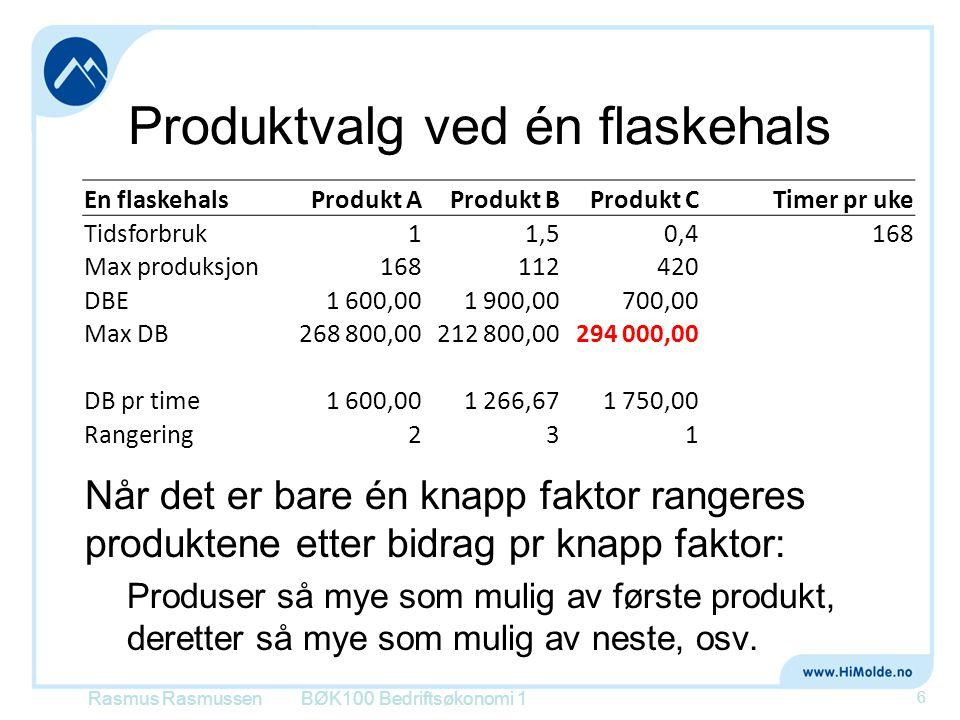 Produktvalg ved én flaskehals Rasmus RasmussenBØK100 Bedriftsøkonomi 1 6 En flaskehalsProdukt AProdukt BProdukt C Timer pr uke Tidsforbruk11,50,4168 M