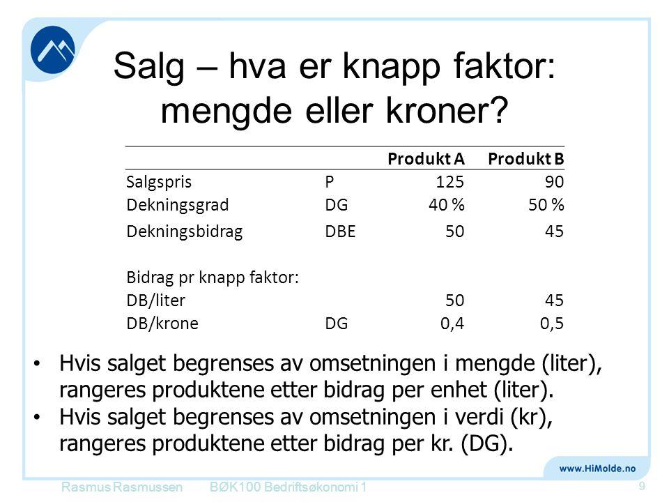 Salg – hva er knapp faktor: mengde eller kroner? Rasmus RasmussenBØK100 Bedriftsøkonomi 1 9 Produkt AProdukt B SalgsprisP12590 DekningsgradDG40 %50 %