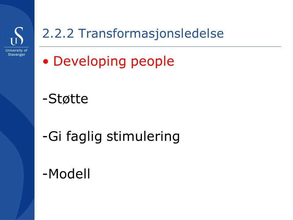 2.2.2 Transformasjonsledelse •Developing people -Støtte -Gi faglig stimulering -Modell