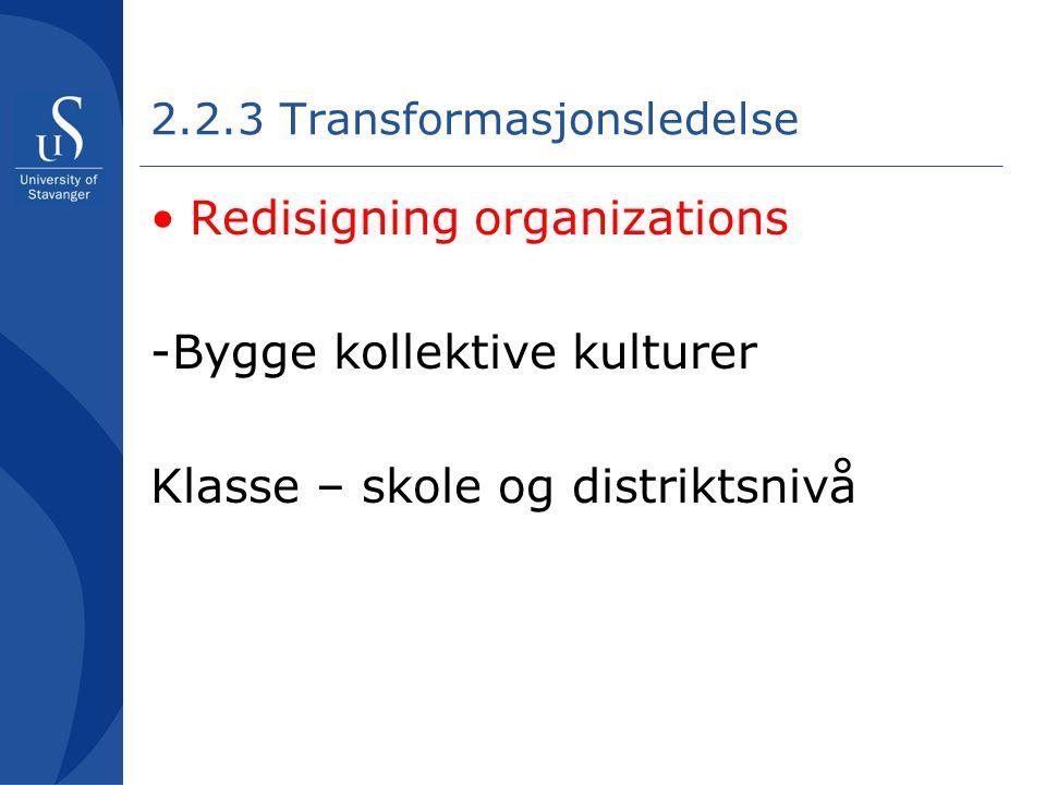 2.2.3 Transformasjonsledelse •Redisigning organizations -Bygge kollektive kulturer Klasse – skole og distriktsnivå