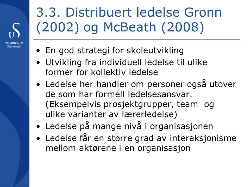 3.3. Distribuert ledelse Gronn (2002) og McBeath (2008) •En god strategi for skoleutvikling •Utvikling fra individuell ledelse til ulike former for ko