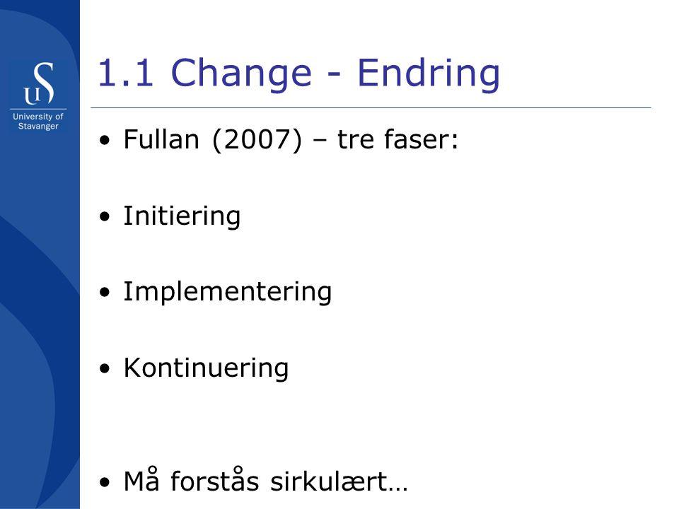 1.1 Change - Endring •Fullan (2007) – tre faser: •Initiering •Implementering •Kontinuering •Må forstås sirkulært…