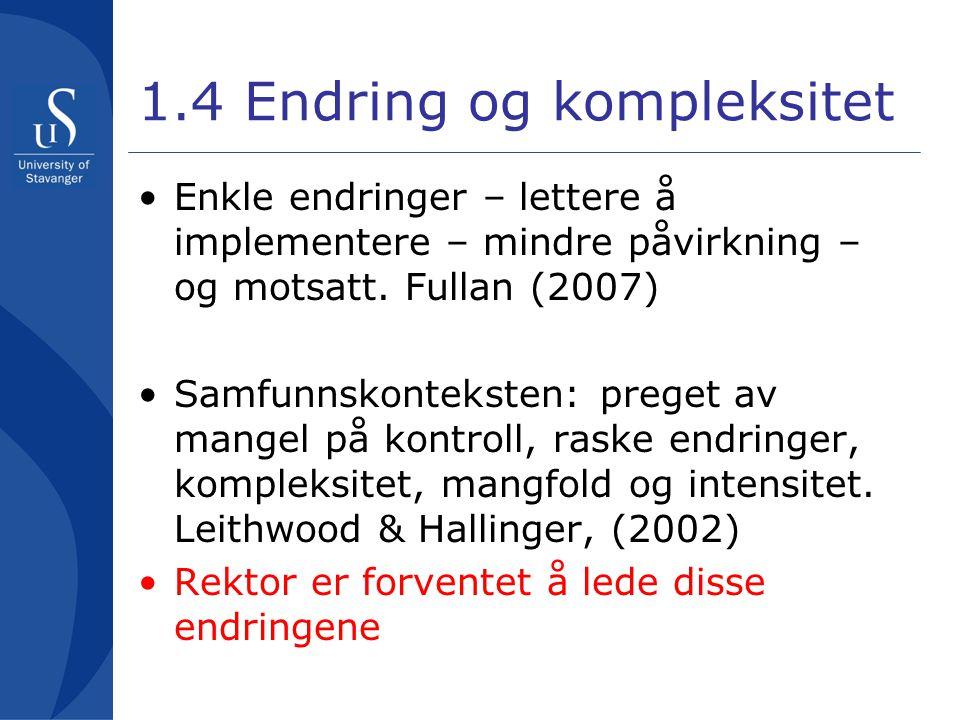 1.4 Endring og kompleksitet •Enkle endringer – lettere å implementere – mindre påvirkning – og motsatt. Fullan (2007) •Samfunnskonteksten: preget av m