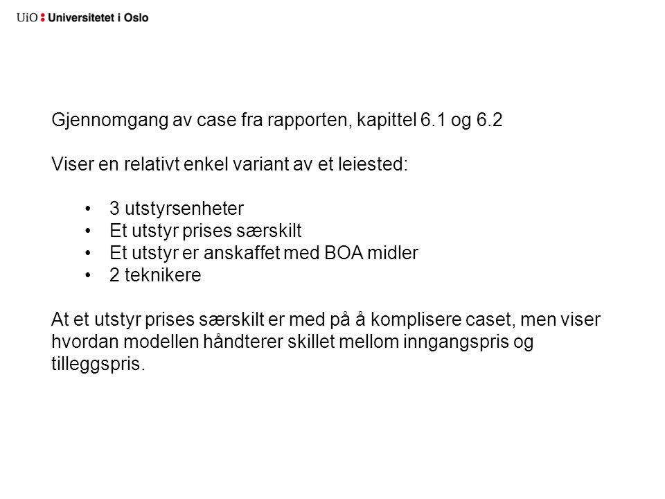 Gjennomgang av case fra rapporten, kapittel 6.1 og 6.2 Viser en relativt enkel variant av et leiested: •3 utstyrsenheter •Et utstyr prises særskilt •E
