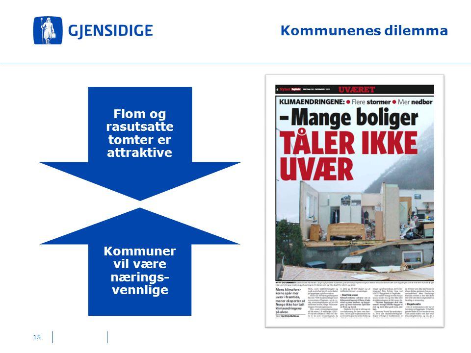 Kommunenes dilemma 15 Flom og rasutsatte tomter er attraktive Kommuner vil være nærings- vennlige