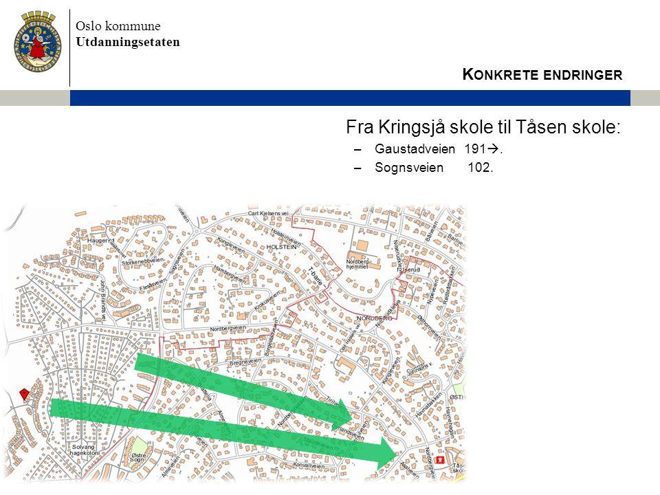 Oslo kommune Utdanningsetaten Fra Kringsjå skole til Tåsen skole: –Gaustadveien 191 . –Sognsveien 102. K ONKRETE ENDRINGER