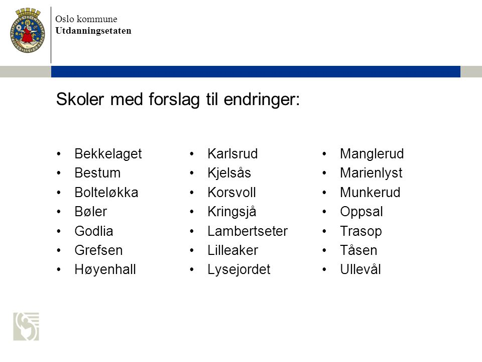 Oslo kommune Utdanningsetaten Skoler med forslag til endringer: •Bekkelaget •Bestum •Bolteløkka •Bøler •Godlia •Grefsen •Høyenhall •Karlsrud •Kjelsås