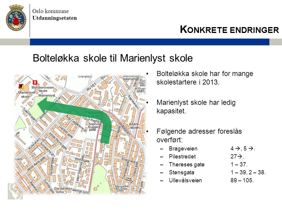 Oslo kommune Utdanningsetaten Bolteløkka skole til Marienlyst skole •Bolteløkka skole har for mange skolestartere i 2013. •Marienlyst skole har ledig