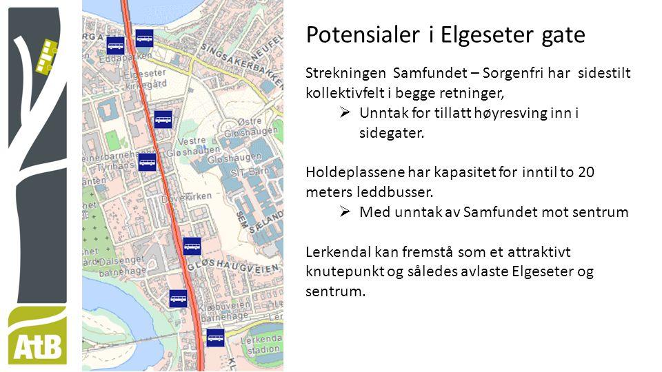 Potensialer i Elgeseter gate Strekningen Samfundet – Sorgenfri har sidestilt kollektivfelt i begge retninger,  Unntak for tillatt høyresving inn i sidegater.