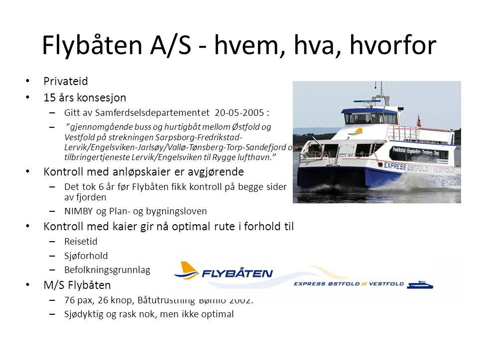 """Flybåten A/S - hvem, hva, hvorfor • Privateid • 15 års konsesjon – Gitt av Samferdselsdepartementet 20-05-2005 : – """"gjennomgående buss og hurtigbåt me"""