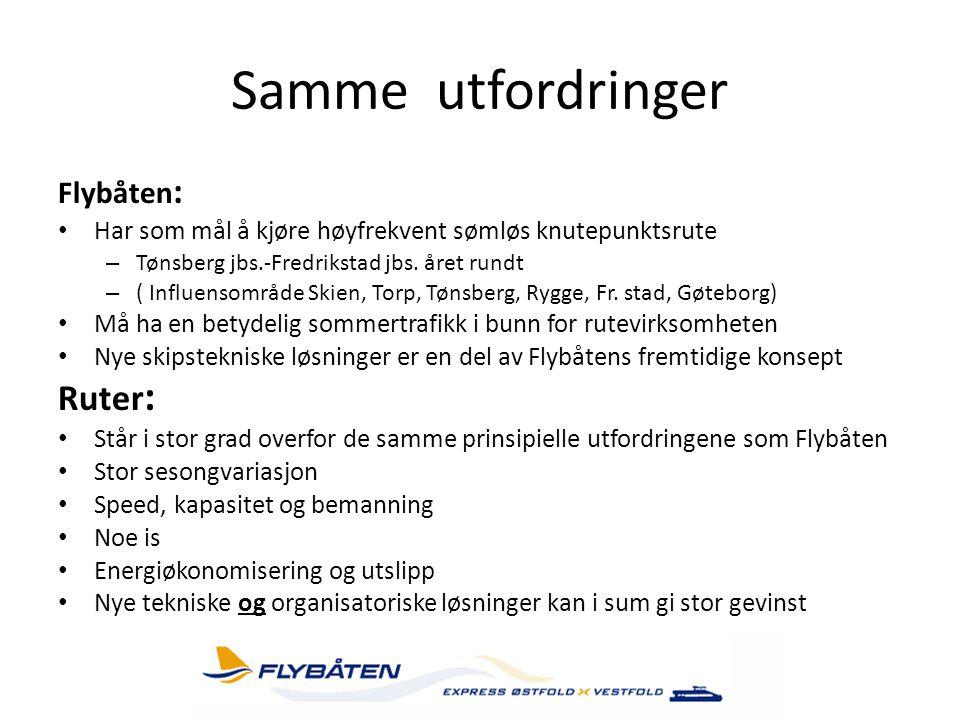 Samme utfordringer Flybåten : • Har som mål å kjøre høyfrekvent sømløs knutepunktsrute – Tønsberg jbs.-Fredrikstad jbs. året rundt – ( Influensområde