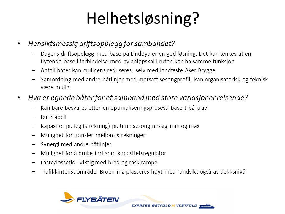 Helhetsløsning? • Hensiktsmessig driftsopplegg for sambandet? – Dagens driftsopplegg med base på Lindøya er en god løsning. Det kan tenkes at en flyte