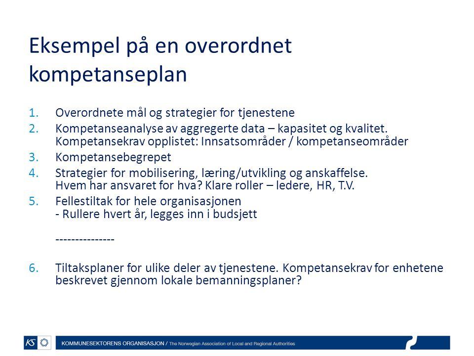 Eksempel på en overordnet kompetanseplan 1.Overordnete mål og strategier for tjenestene 2.Kompetanseanalyse av aggregerte data – kapasitet og kvalitet.