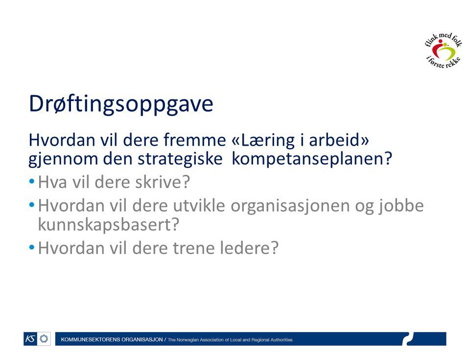 Drøftingsoppgave Hvordan vil dere fremme «Læring i arbeid» gjennom den strategiske kompetanseplanen.