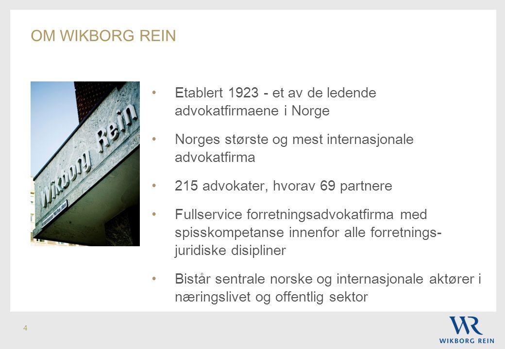 4 • Etablert 1923 - et av de ledende advokatfirmaene i Norge • Norges største og mest internasjonale advokatfirma • 215 advokater, hvorav 69 partnere
