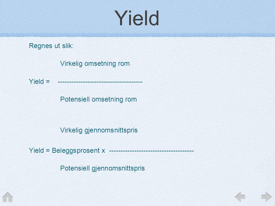 Yield Regnes ut slik: Virkelig omsetning rom Yield = ------------------------------------- Potensiell omsetning rom Virkelig gjennomsnittspris Yield =