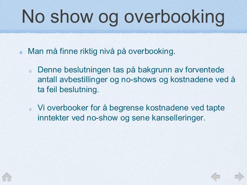 No show og overbooking Man må finne riktig nivå på overbooking. o Denne beslutningen tas på bakgrunn av forventede antall avbestillinger og no-shows o