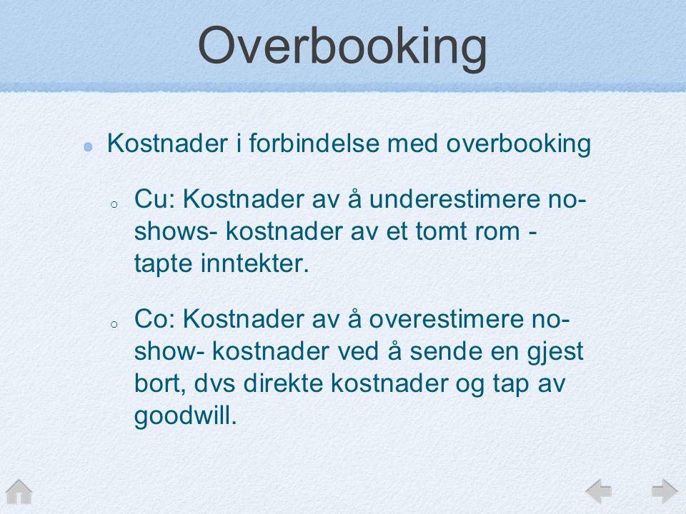 Overbooking Kostnader i forbindelse med overbooking o Cu: Kostnader av å underestimere no- shows- kostnader av et tomt rom - tapte inntekter. o Co: Ko