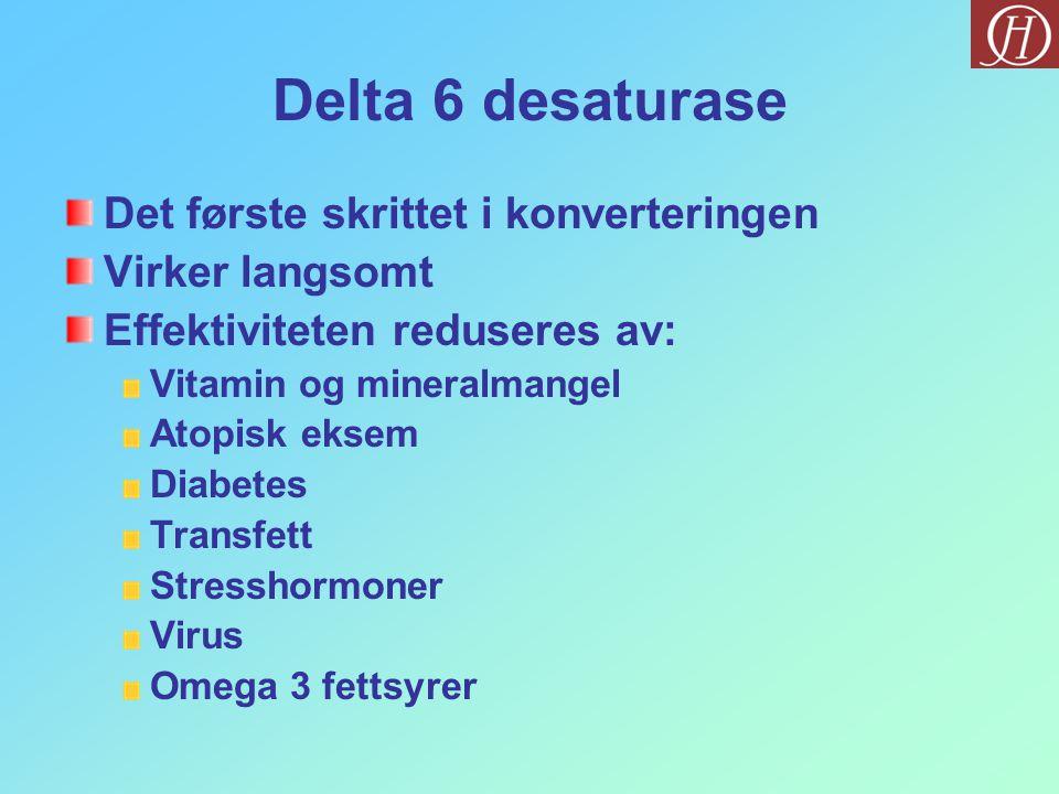Delta 6 desaturase Det første skrittet i konverteringen Virker langsomt Effektiviteten reduseres av: Vitamin og mineralmangel Atopisk eksem Diabetes T