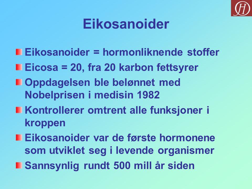 Eikosanoider Eikosanoider = hormonliknende stoffer Eicosa = 20, fra 20 karbon fettsyrer Oppdagelsen ble belønnet med Nobelprisen i medisin 1982 Kontro