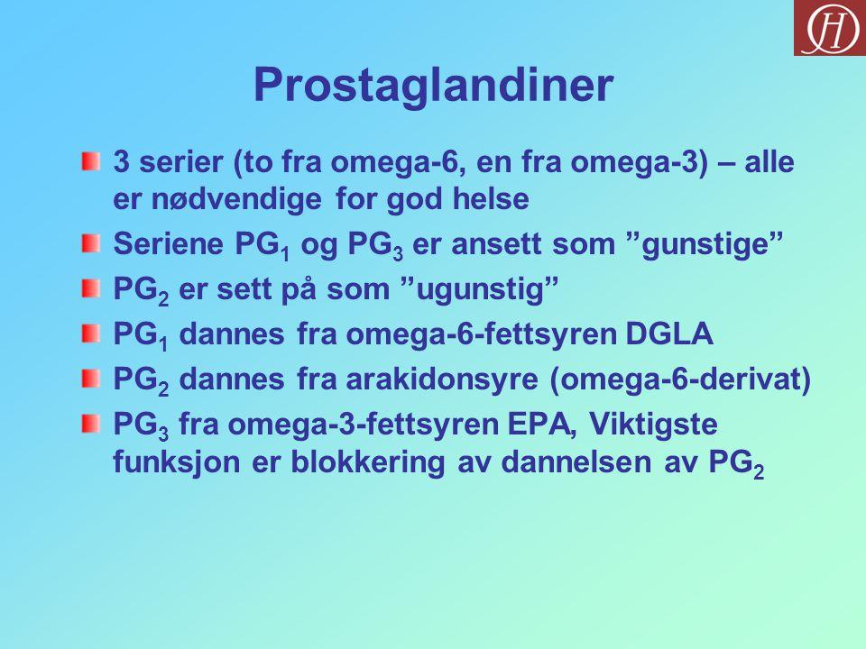 """Prostaglandiner 3 serier (to fra omega-6, en fra omega-3) – alle er nødvendige for god helse Seriene PG 1 og PG 3 er ansett som """"gunstige"""" PG 2 er set"""