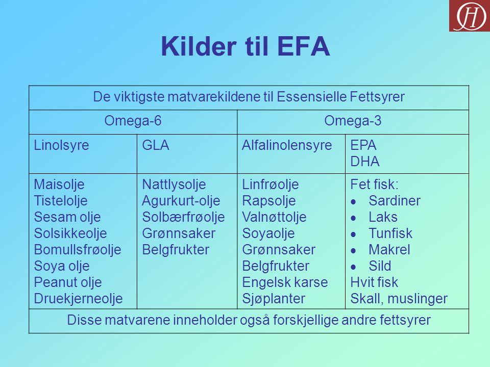 Kilder til EFA De viktigste matvarekildene til Essensielle Fettsyrer Omega-6Omega-3 LinolsyreGLAAlfalinolensyreEPA DHA Maisolje Tistelolje Sesam olje