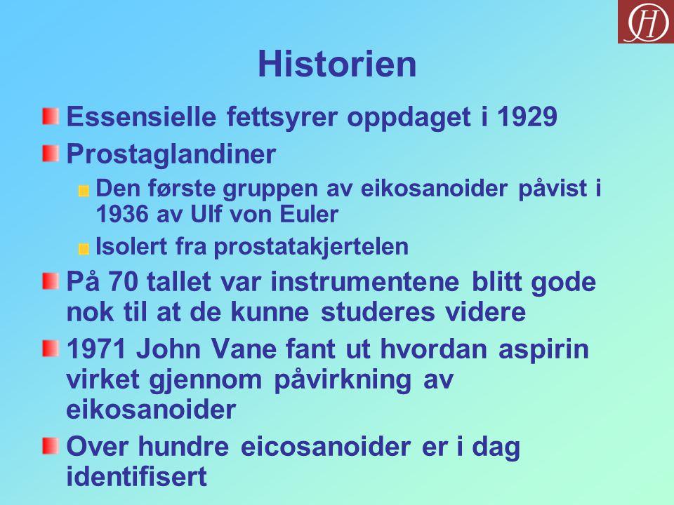 Historien Essensielle fettsyrer oppdaget i 1929 Prostaglandiner Den første gruppen av eikosanoider påvist i 1936 av Ulf von Euler Isolert fra prostata