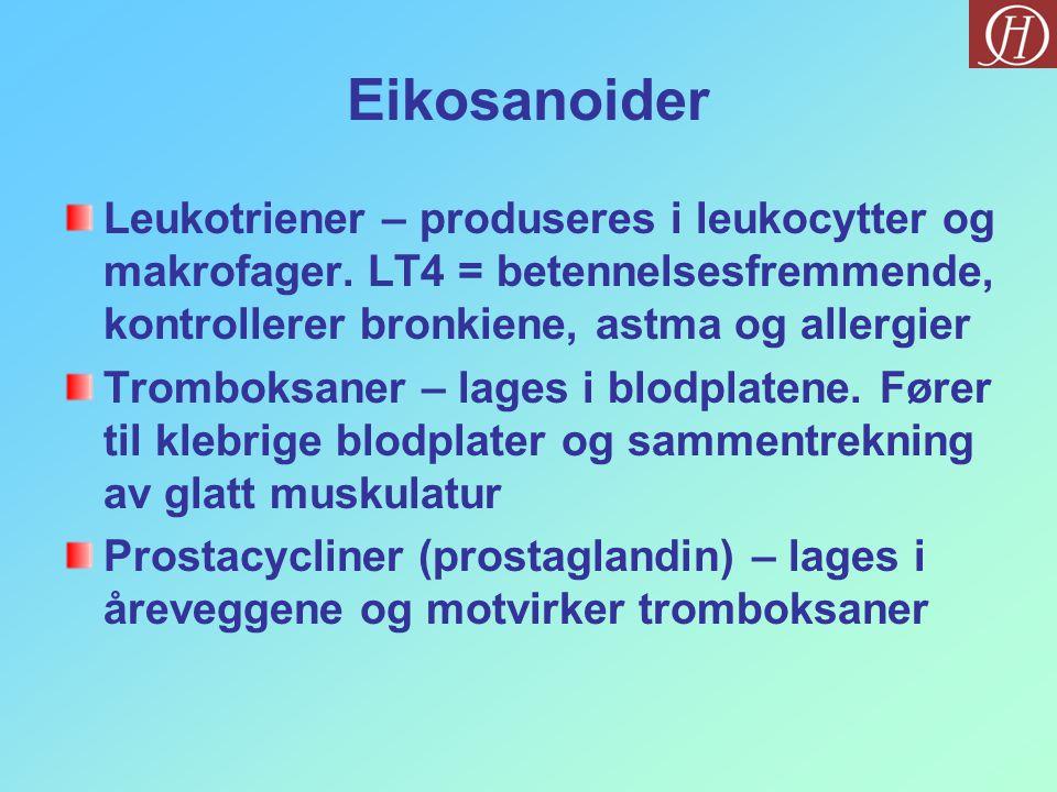 Eikosanoider Leukotriener – produseres i leukocytter og makrofager. LT4 = betennelsesfremmende, kontrollerer bronkiene, astma og allergier Tromboksane