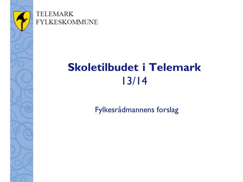 TELEMARK FYLKESKOMMUNE Skoletilbudet i Telemark 13/14 Fylkesrådmannens forslag