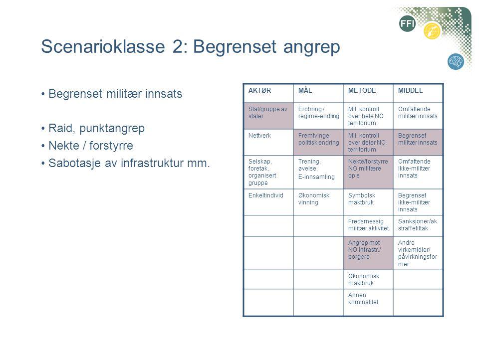 Scenarioklasse 2: Begrenset angrep • Begrenset militær innsats • Raid, punktangrep • Nekte / forstyrre • Sabotasje av infrastruktur mm.