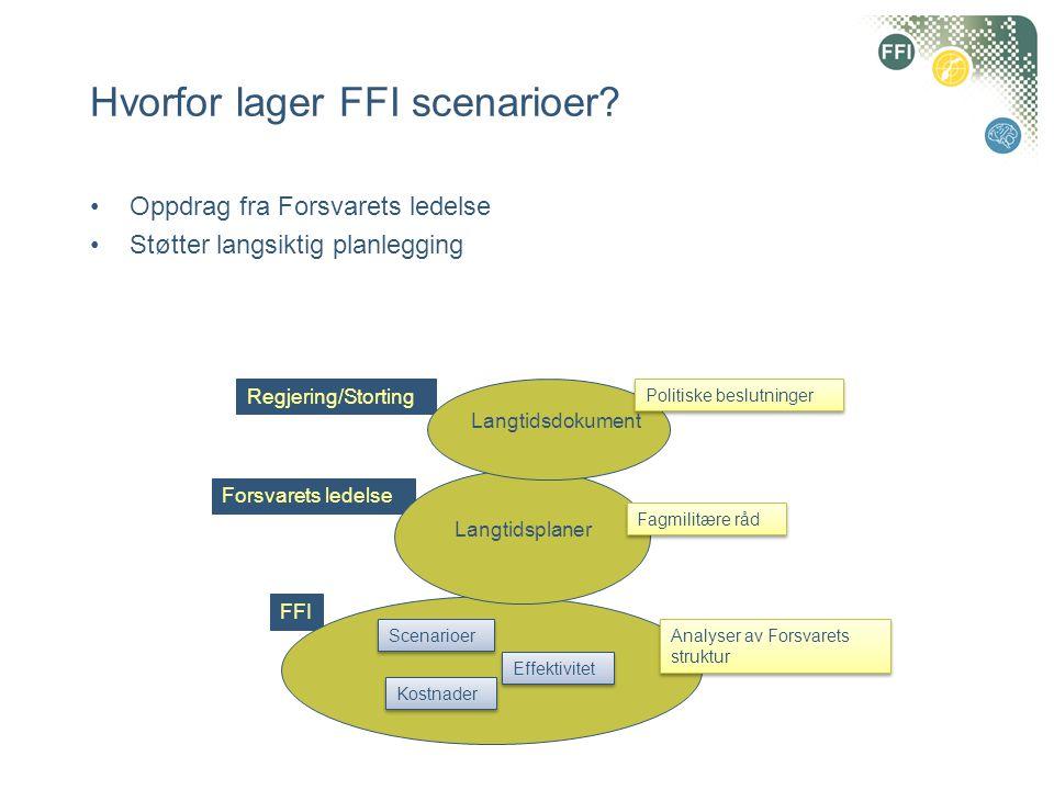Hvorfor lager FFI scenarioer? •Oppdrag fra Forsvarets ledelse •Støtter langsiktig planlegging FFI Forsvarets ledelse Regjering/Storting Scenarioer Kos