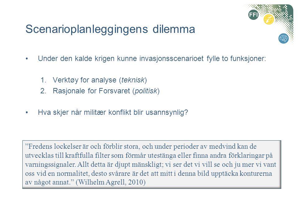 Scenarioplanleggingens dilemma •Under den kalde krigen kunne invasjonsscenarioet fylle to funksjoner: 1.Verktøy for analyse (teknisk) 2.Rasjonale for