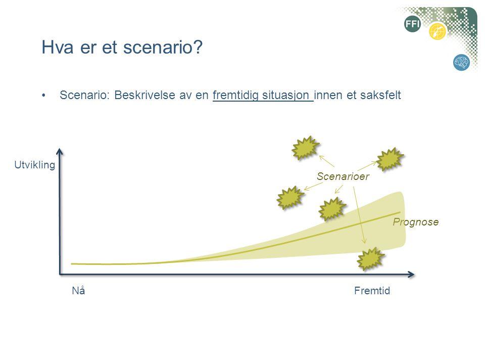Hva er et scenario? •Scenario: Beskrivelse av en fremtidig situasjon innen et saksfelt NåFremtid Scenarioer Prognose Utvikling