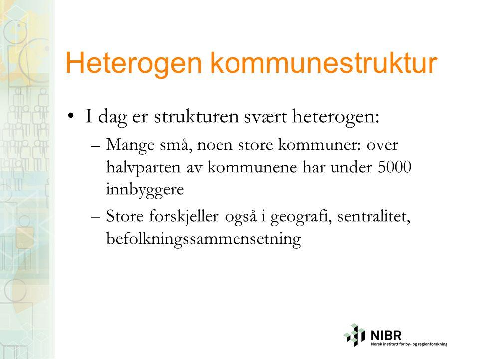 Heterogen kommunestruktur •I dag er strukturen svært heterogen: –Mange små, noen store kommuner: over halvparten av kommunene har under 5000 innbygger
