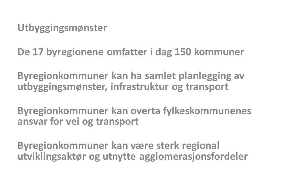 Utbyggingsmønster De 17 byregionene omfatter i dag 150 kommuner Byregionkommuner kan ha samlet planlegging av utbyggingsmønster, infrastruktur og tran