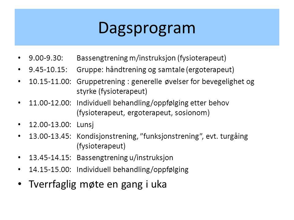 Dagsprogram • 9.00-9.30: Bassengtrening m/instruksjon (fysioterapeut) • 9.45-10.15:Gruppe: håndtrening og samtale (ergoterapeut) • 10.15-11.00: Gruppetrening : generelle øvelser for bevegelighet og styrke (fysioterapeut) • 11.00-12.00: Individuell behandling/oppfølging etter behov (fysioterapeut, ergoterapeut, sosionom) • 12.00-13.00: Lunsj • 13.00-13.45: Kondisjonstrening, funksjonstrening , evt.