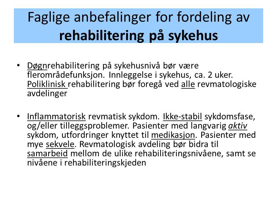 Faglige anbefalinger for fordeling av rehabilitering på sykehus • Døgnrehabilitering på sykehusnivå bør være flerområdefunksjon. Innleggelse i sykehus