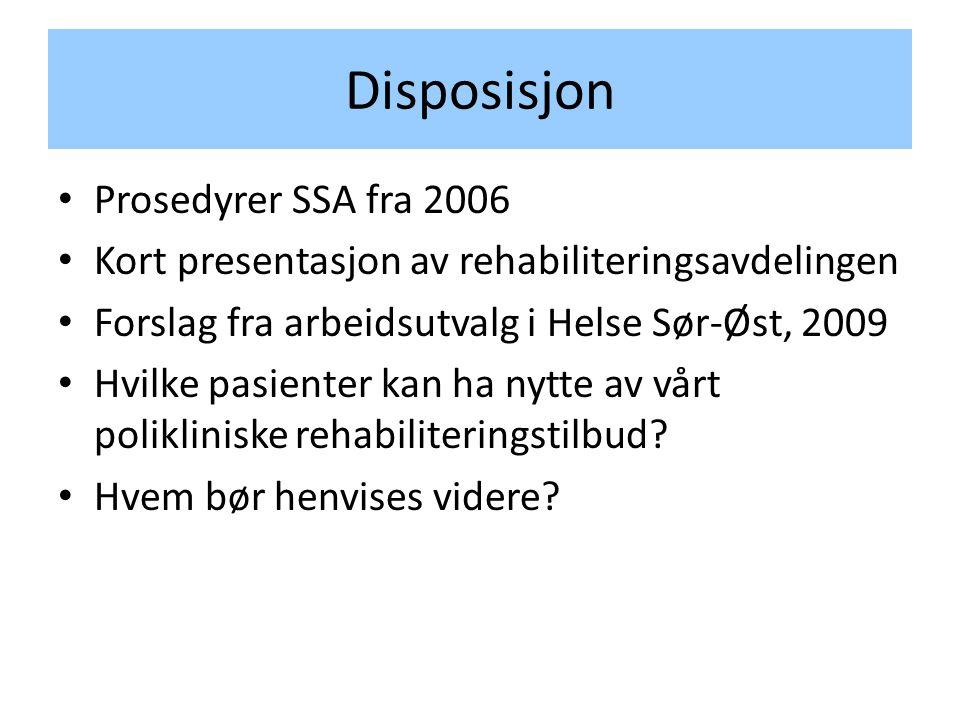 Disposisjon • Prosedyrer SSA fra 2006 • Kort presentasjon av rehabiliteringsavdelingen • Forslag fra arbeidsutvalg i Helse Sør-Øst, 2009 • Hvilke pasienter kan ha nytte av vårt polikliniske rehabiliteringstilbud.