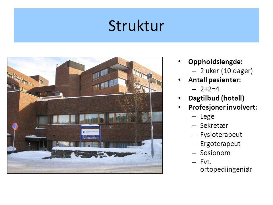 Struktur • Oppholdslengde: – 2 uker (10 dager) • Antall pasienter: – 2+2=4 • Dagtilbud (hotell) • Profesjoner involvert: – Lege – Sekretær – Fysiotera