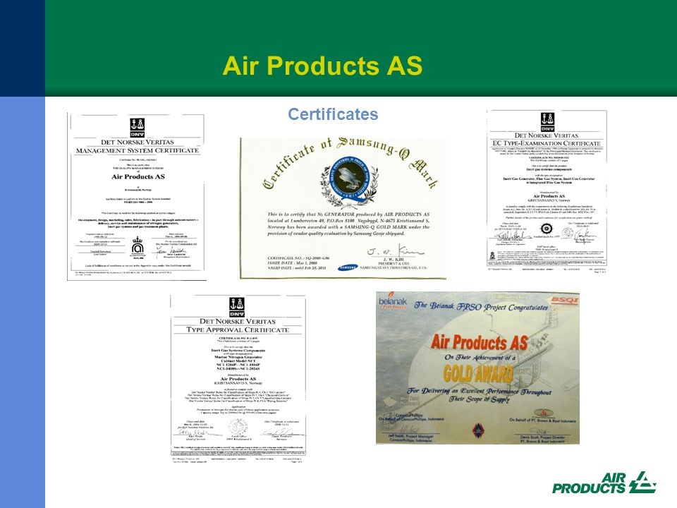 Air Products AS Certificates