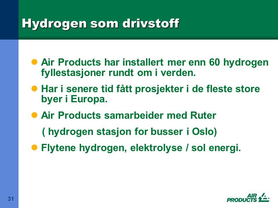 Hydrogen som drivstoff 31  Air Products har installert mer enn 60 hydrogen fyllestasjoner rundt om i verden.  Har i senere tid fått prosjekter i de