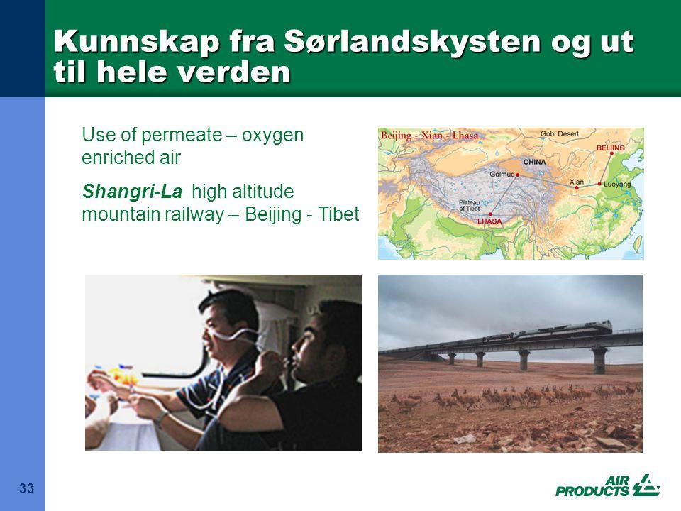 Kunnskap fra Sørlandskysten og ut til hele verden 33 Use of permeate – oxygen enriched air Shangri-La high altitude mountain railway – Beijing - Tibet
